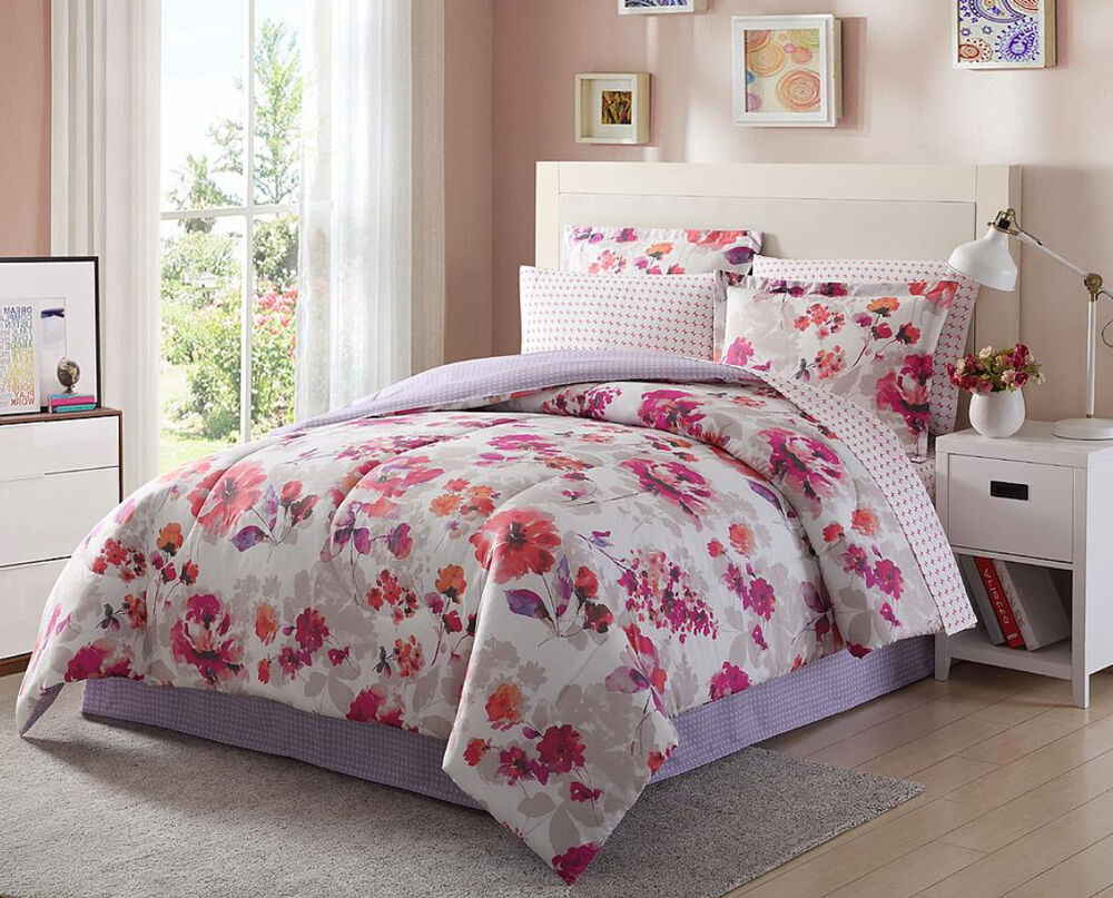 Light Dark Purple Pink White Floral 8 Piece Comforter