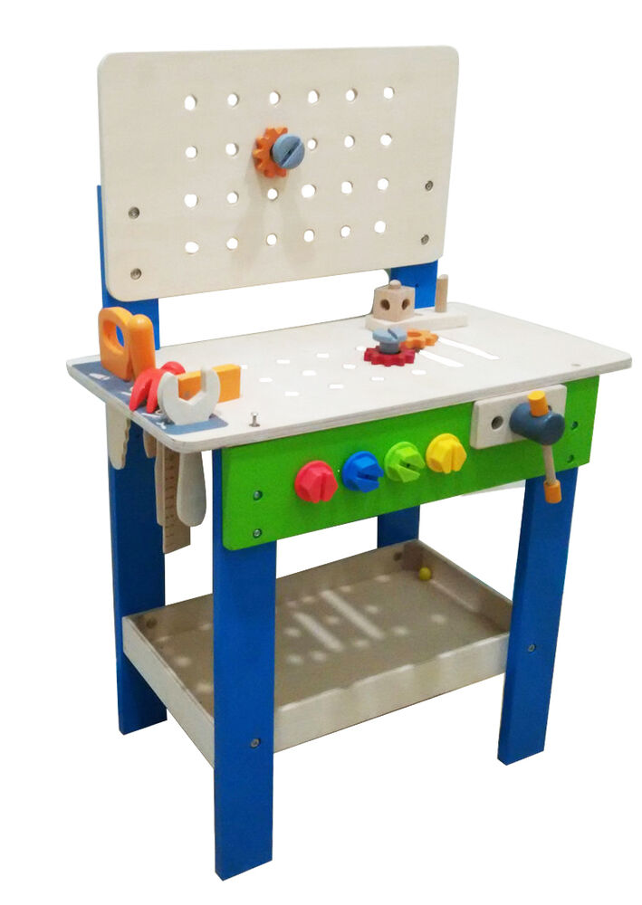 Kids Wooden Work Bench Engineering Tool Set Play Toy With 17pcs Diy Ebay