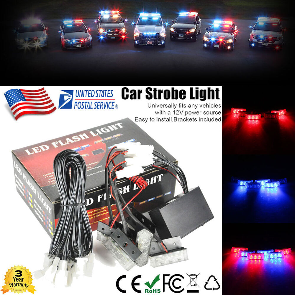 18 Led Car Dash Strobe Flash Light Emergency Police Warning 3 Modes Red Amp Blue Ebay