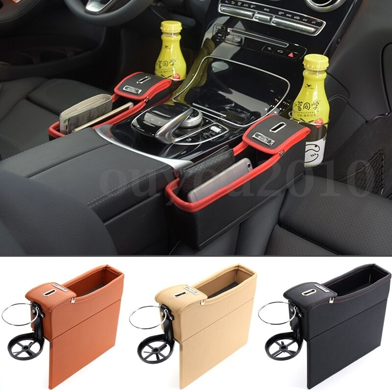 pu car seat catcher gap filler storage box cup holder coin collector for right ebay. Black Bedroom Furniture Sets. Home Design Ideas