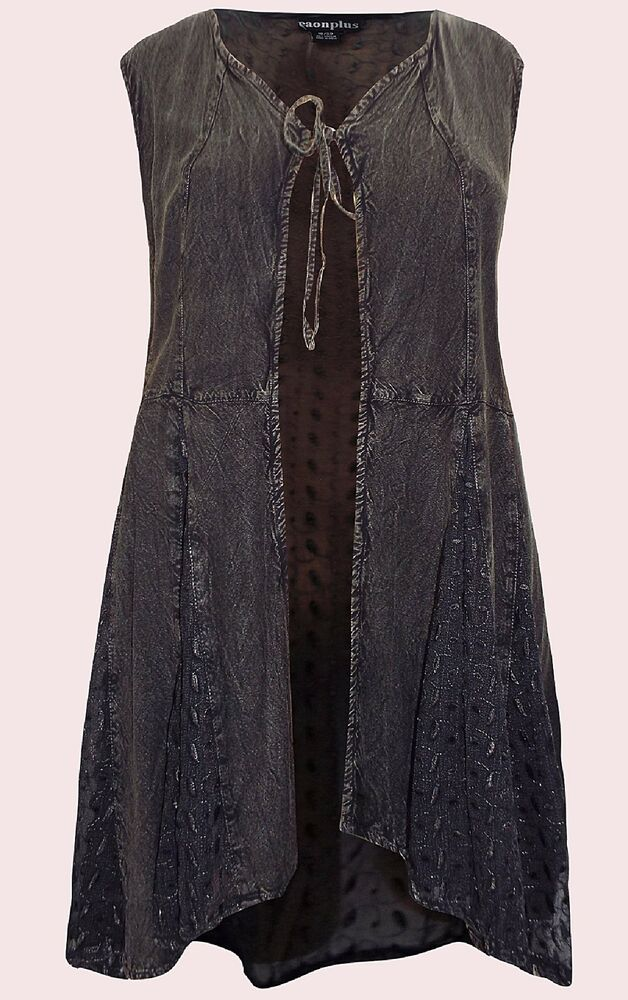 8709ca1784370 Details about NEW Eaonplus BLACK Embroidered Sleeveless Duster Jacket Sizes  18 to 32