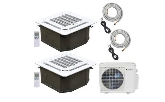 klimaire 2 zone 30k btu 18kx2 ceiling cassette 19 seer ac. Black Bedroom Furniture Sets. Home Design Ideas