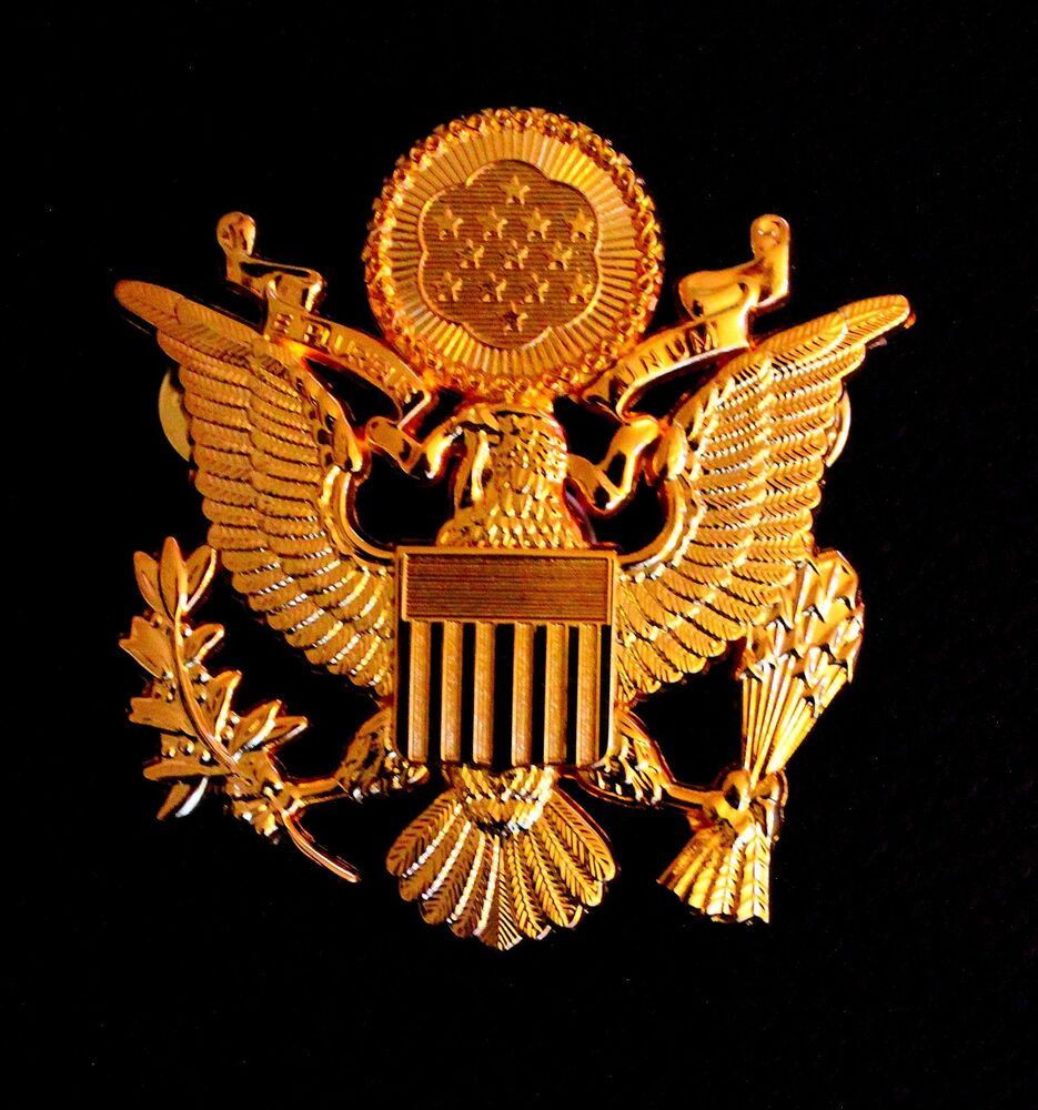 US ARMY MILITARY OFFICERS CAP EAGLE BADGE INSIGNIA Golden ...