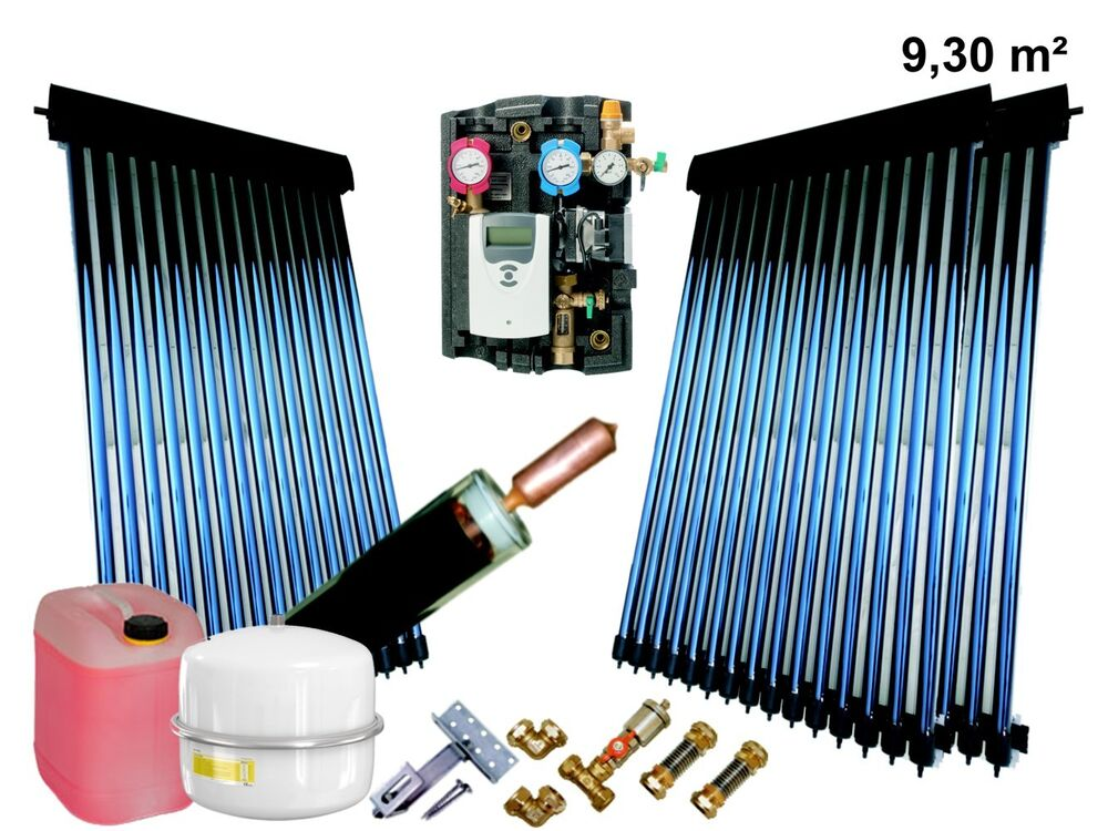 solaranlage komplettpaket r hrenkollektor warmwasser power heatpipe 9 3 m bafa ebay. Black Bedroom Furniture Sets. Home Design Ideas