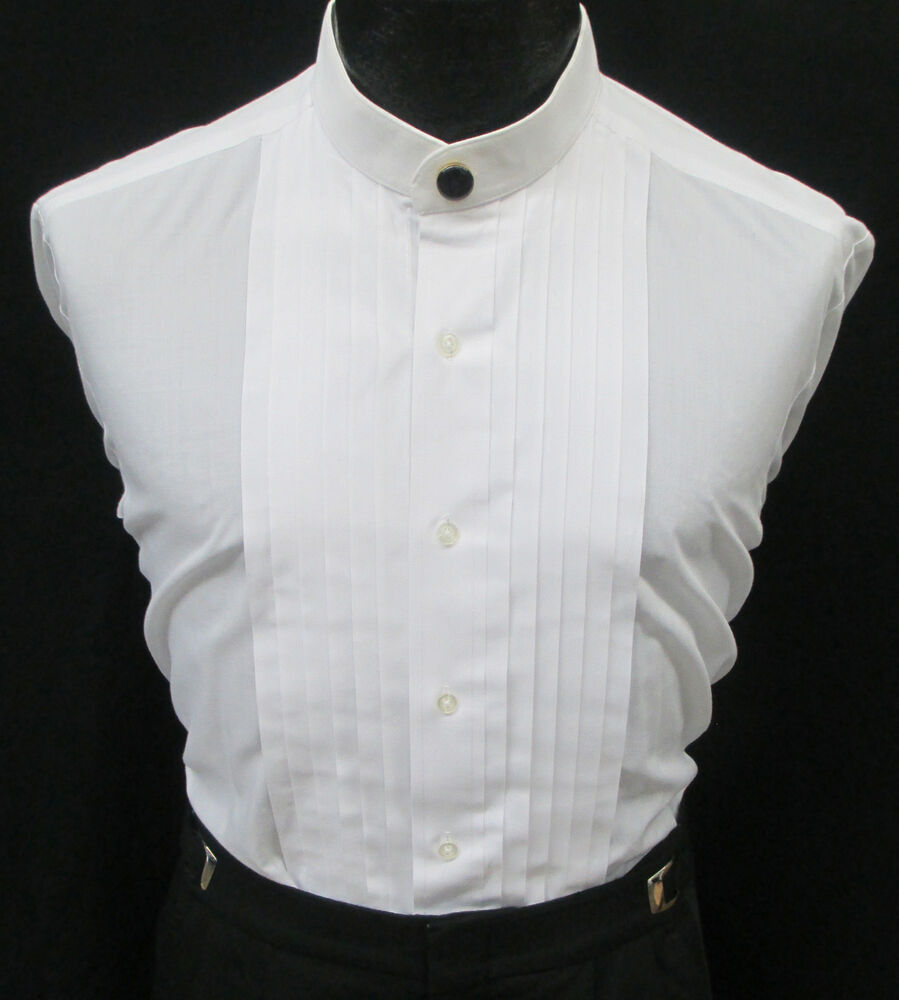 White banded nehru mandarin collar pleated front tuxedo for Mens dress shirt button covers