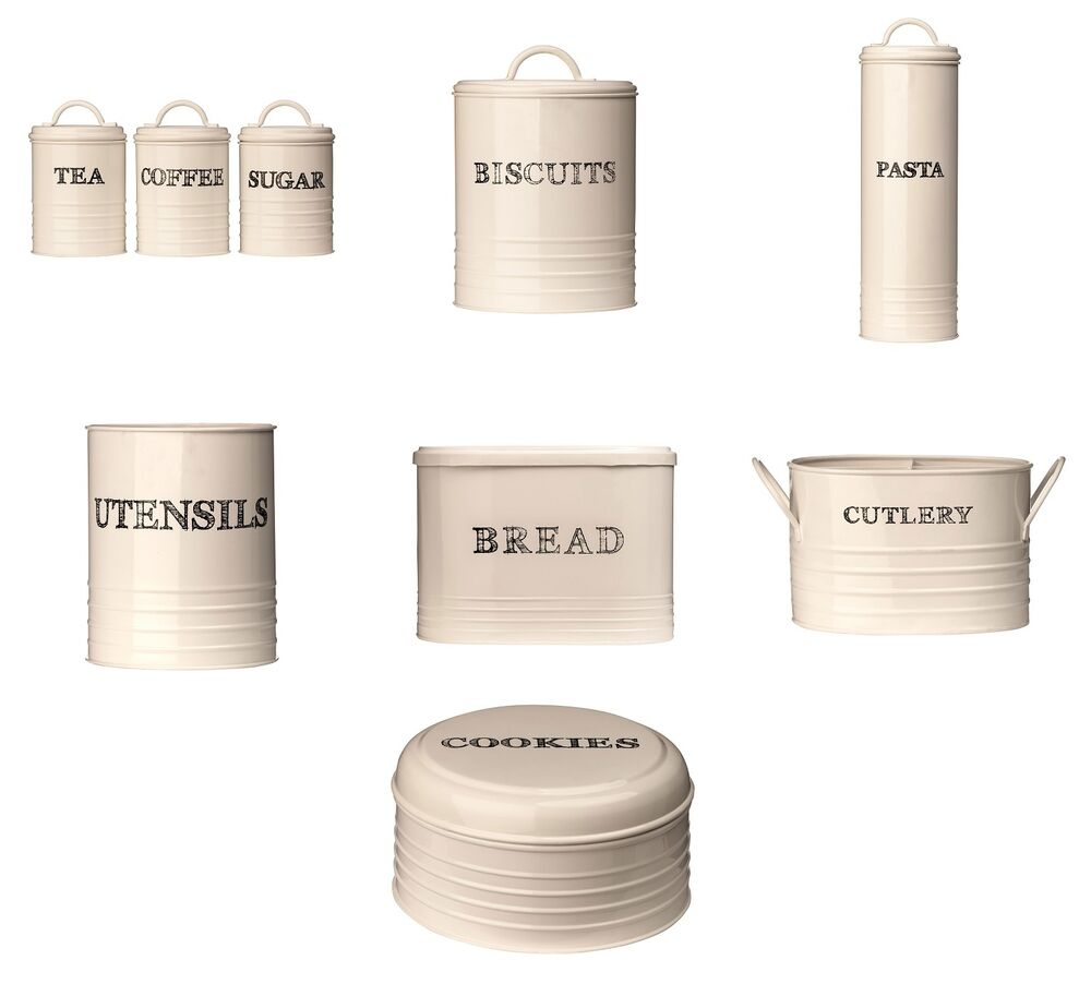 Cream Kitchen Storage Jars: Sketch Cream Kitchen Tea Coffee Sugar Biscuit Cookie Tin