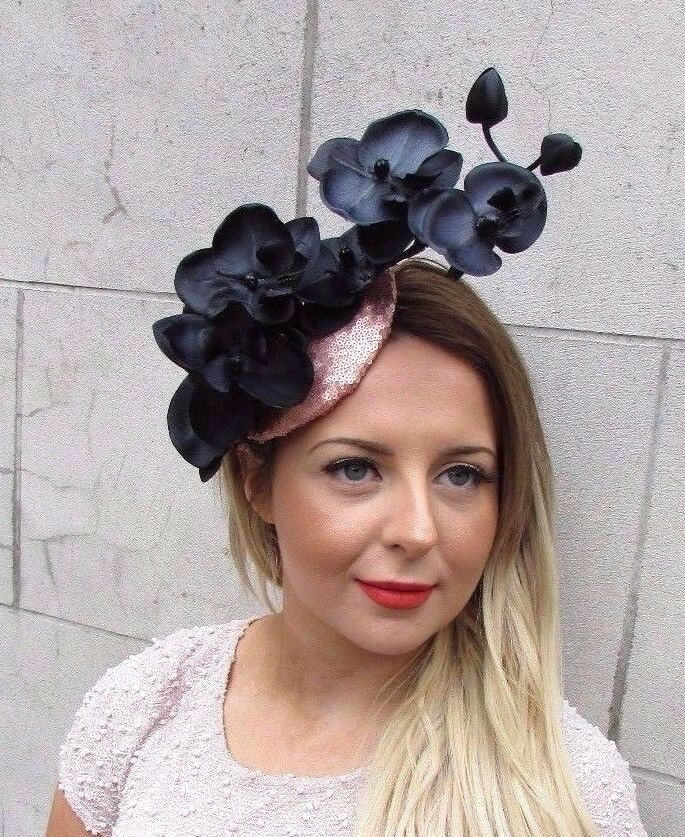 Black Flower Fascinator Hat: Rose Gold Black Sequin Orchid Flower Fascinator Hat Races
