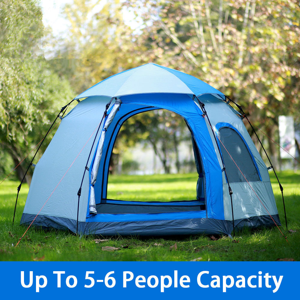 waterproof 5 6 people automatic instant pop up tent family camping hiking tent ebay. Black Bedroom Furniture Sets. Home Design Ideas