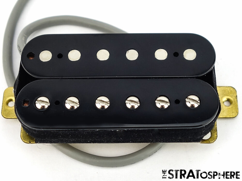 new alnico 5 humbucker pickup guitar parts 4 wire black neck position ebay. Black Bedroom Furniture Sets. Home Design Ideas