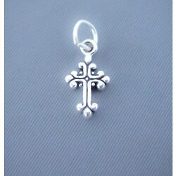 Sterling Silver Small Tiny Cross Charm, Mini, Fancy Design, Made in USA