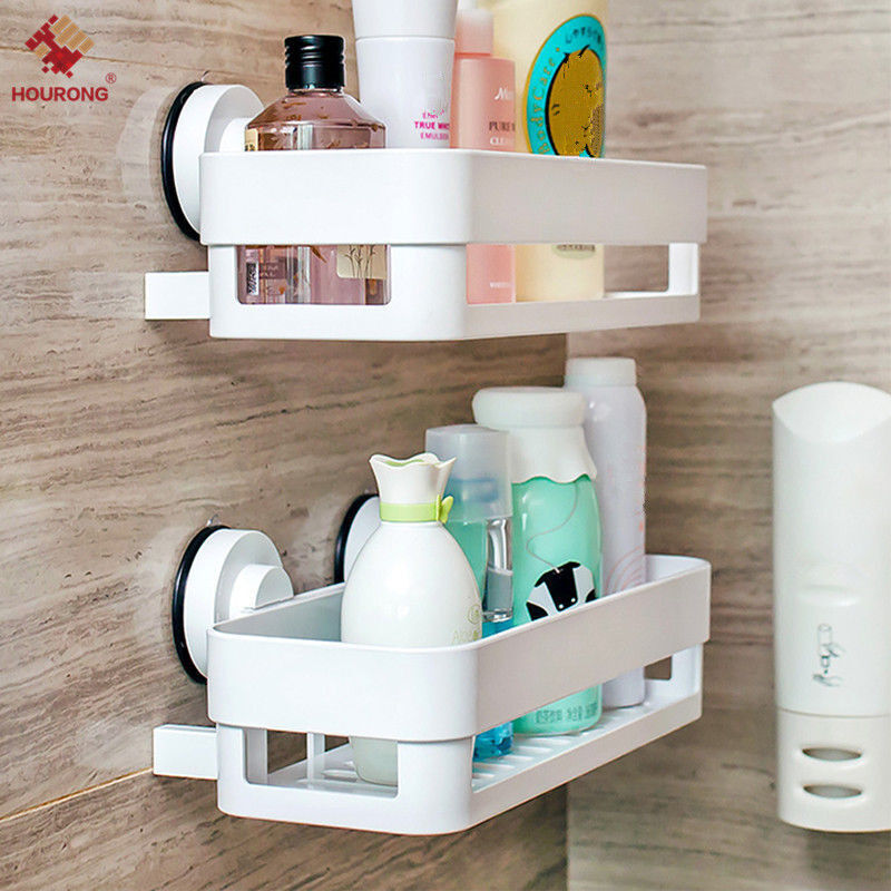 Home Bathroom Corner Wall Storage Organizer Shower Shelf Basket Sucker Rack New