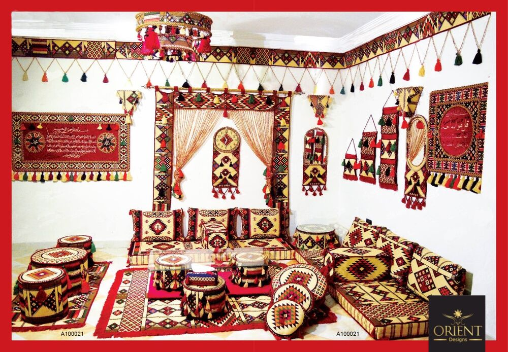 orientalische sitzecke orientalisches sofa bodenkissen sitzgruppe sitzkissen ebay. Black Bedroom Furniture Sets. Home Design Ideas
