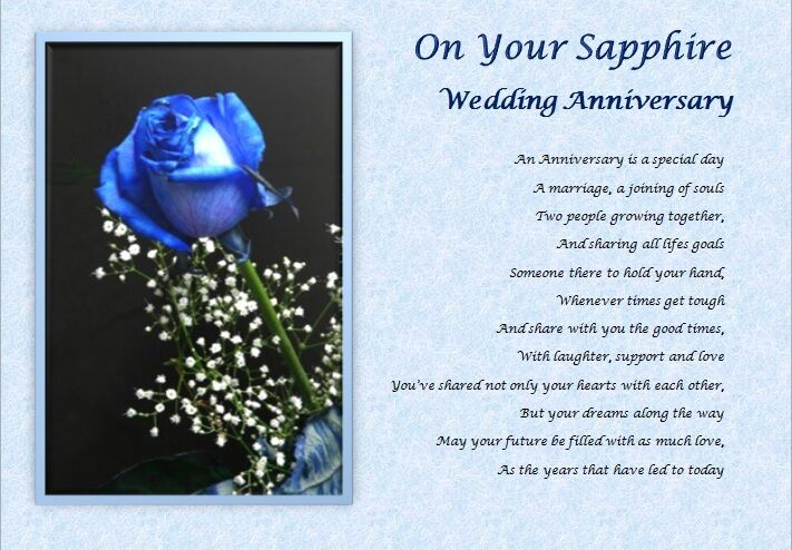 Sapphire Wedding Anniversary Personalised Poem