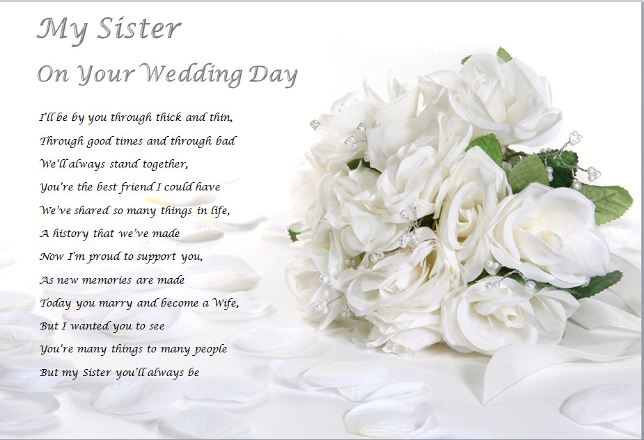 Gifts For Sisters Wedding: SISTER ON YOUR WEDDING DAY - Personalised Gift