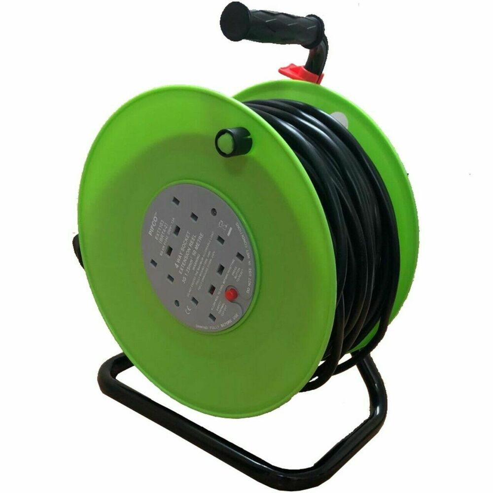 50m 4 Way Heavy Duty Cable 50 Meter Extension Reel Lead