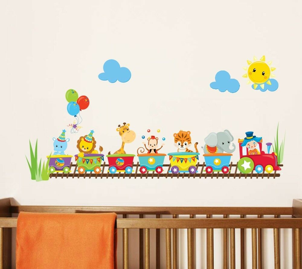 Baby animal circus train wall decal stickers nursery wall for Baby nursery mural