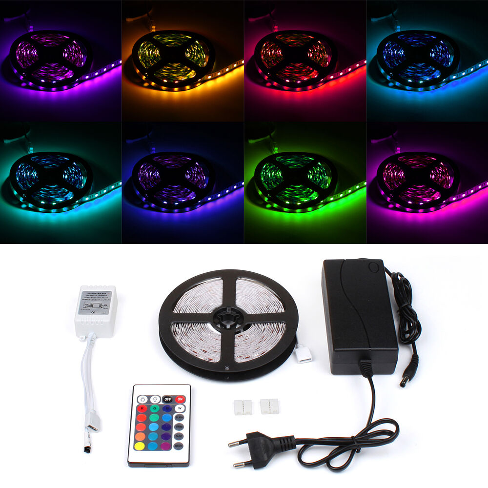 5m rgb led strip band leiste streifen lichtkette 5050 smd 60 led fernbedienung ebay. Black Bedroom Furniture Sets. Home Design Ideas