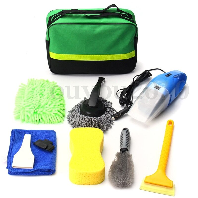 8pcs car wash interior exterior cleaning kit vacuum cleaner shovel sponge glove ebay. Black Bedroom Furniture Sets. Home Design Ideas