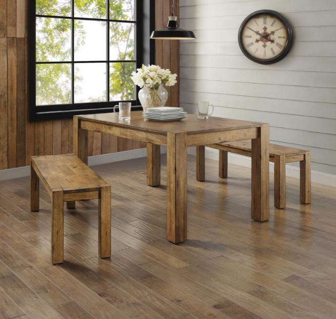 Dining Table Set For 4 Rustic Farmhouse Kitchen Table Bench 3 Piece Solid Wood Ebay