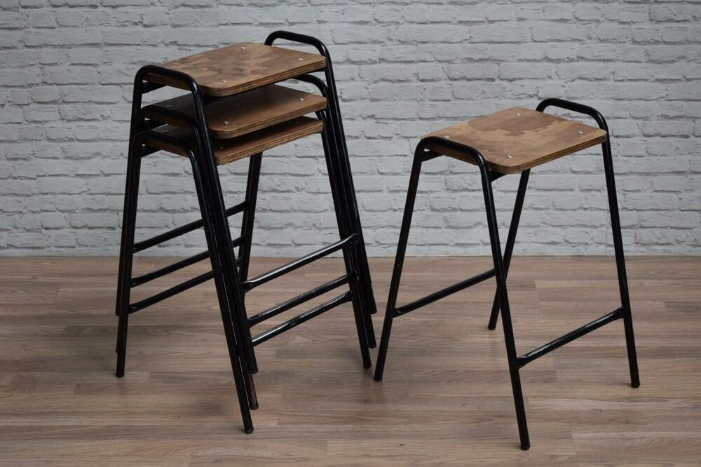 Industrial Vintage Style Stacking School Lab Cafe Bar