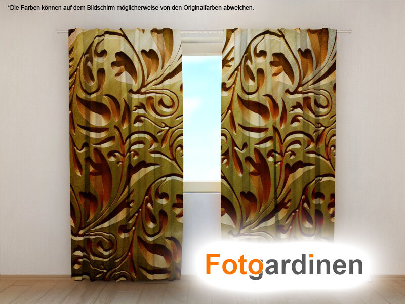 fotogardinen ornament vorhang 3d fotodruck fotovorhang. Black Bedroom Furniture Sets. Home Design Ideas