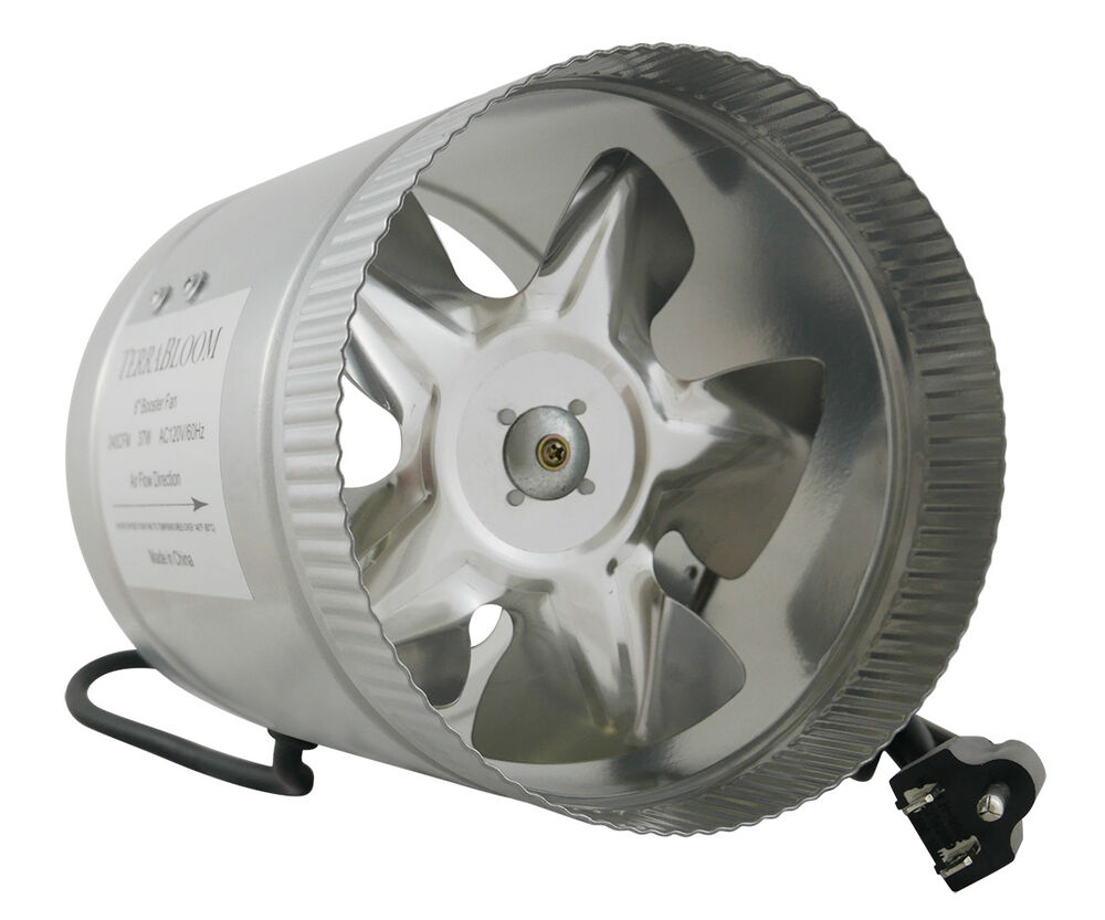 Quiet Duct Fan : Terrabloom quot inch duct fan cfm inline booster