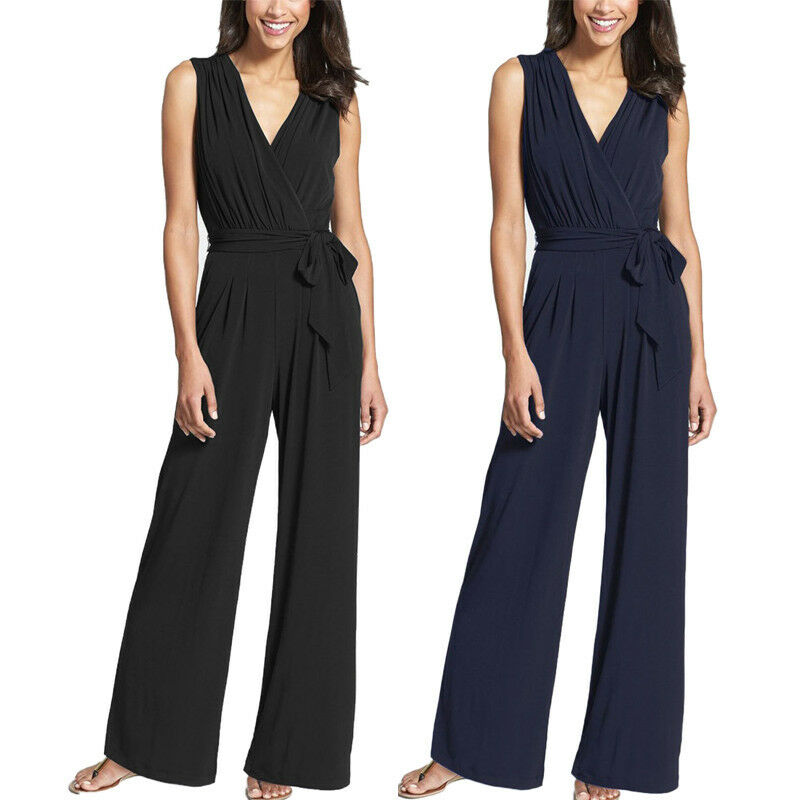 Women V Neck Casual Loose Wide Leg Long Jumpsuit Playsuit