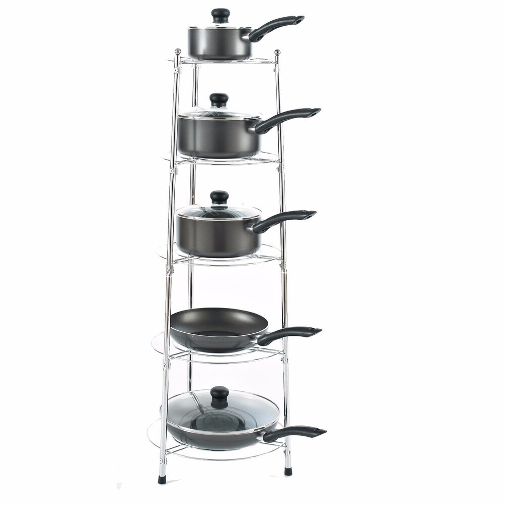 Chrome five tier kitchen pan stand saucepan pot rack for Pot racks for kitchen