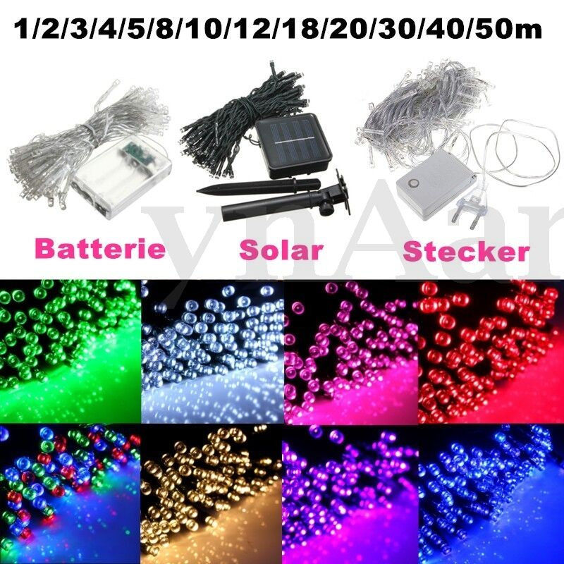 1 50m led weihnachtslichterkette lichterkette batterie solar stecker au en innen ebay. Black Bedroom Furniture Sets. Home Design Ideas