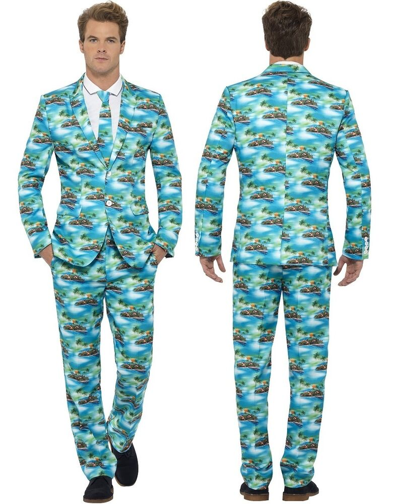Mens Hawaiian Stand Out Suit Tropical Island Fancy Dress Costume ...
