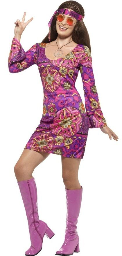 f4b65550404 Ladies Purple Party Hippy Hippie 60s 70s Fancy Dress Costume UK 4-22 Plus  Size