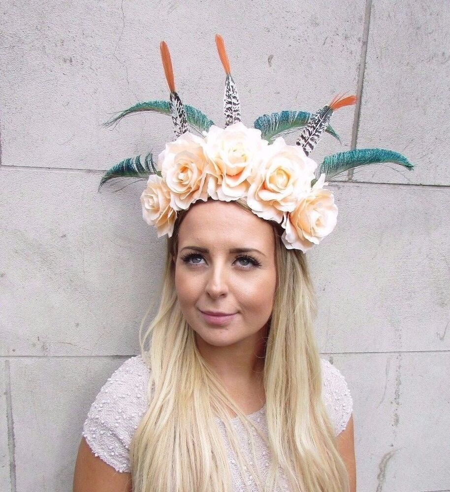 Details about Festival Feather Flower Headband Large Boho Headdress  Headpiece Peach Rose 2976 266dbc427e9