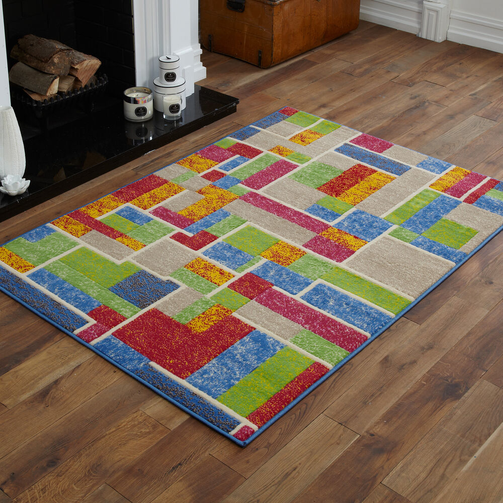 Small Medium Modern Green Red Blue Yellow Multi Color Rug