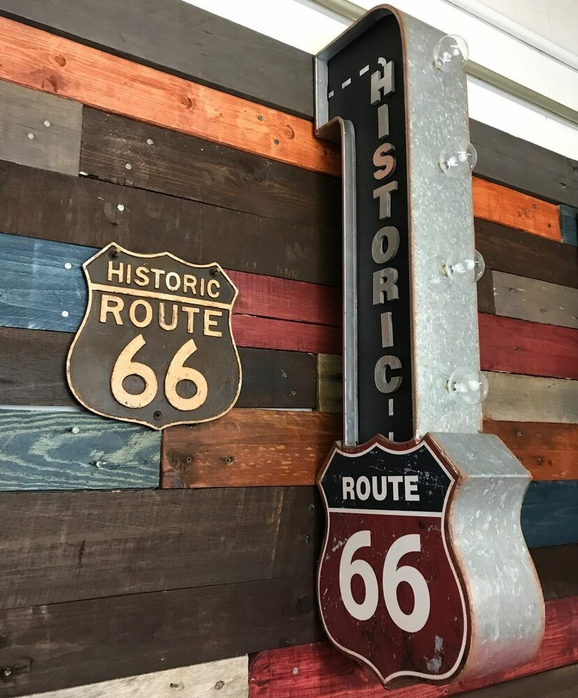 Historic Route 66 Marquee Metal Sign LED Lights PLUS Cast