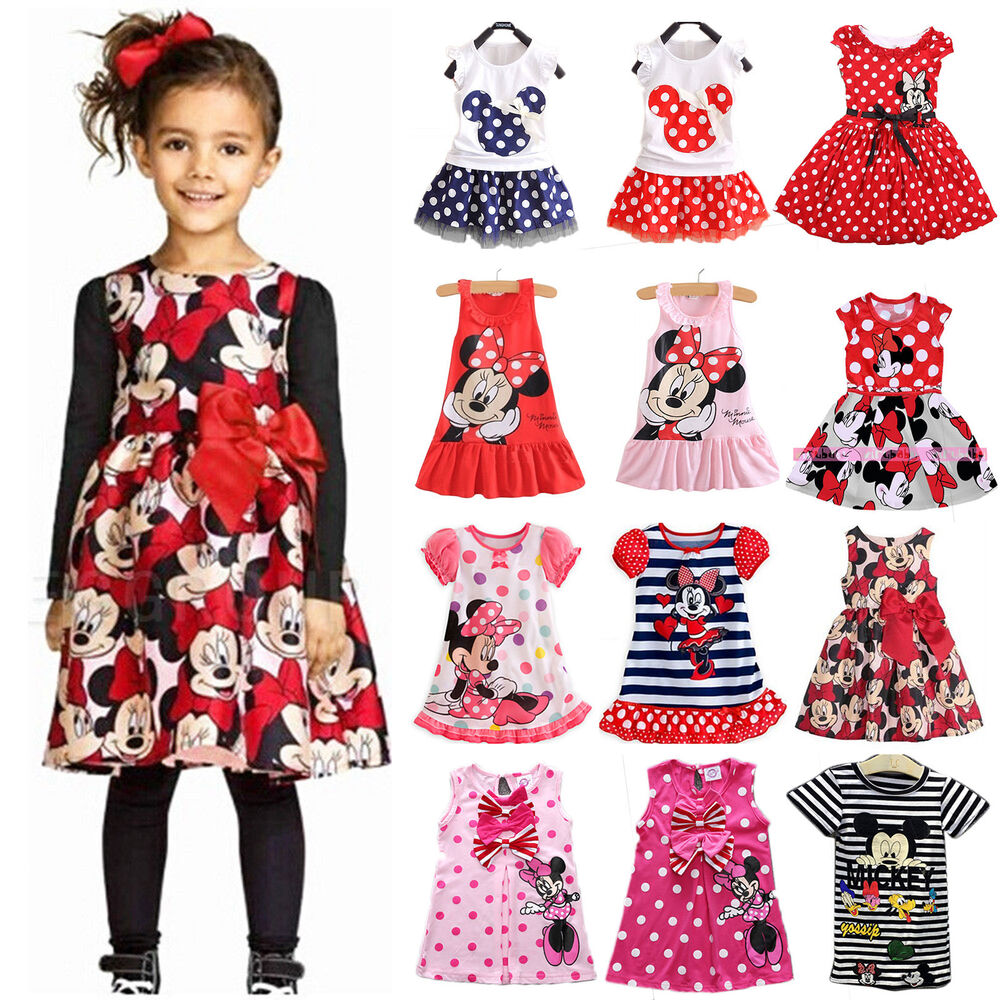 Kids Baby Girl Mickey Minnie Mouse Casual Party Vest Skirt Dress ...