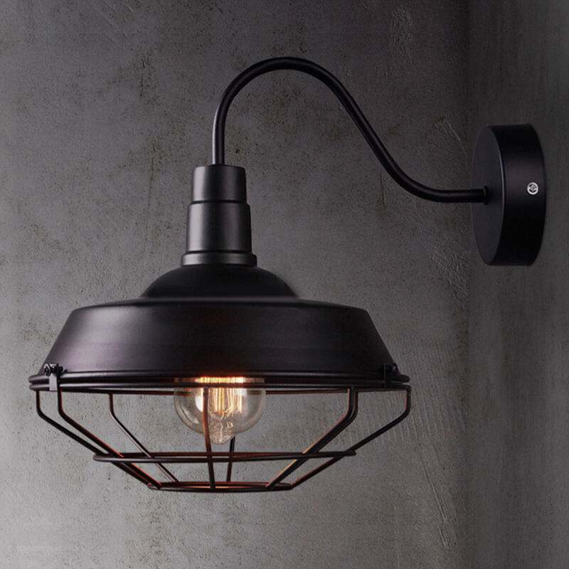 Ceiling Or Wall Barn Light With Cage : Sconce Wall Light Lamp Cage Vintage Iron Outdoor Barn Gooseneck Edison Lighting eBay