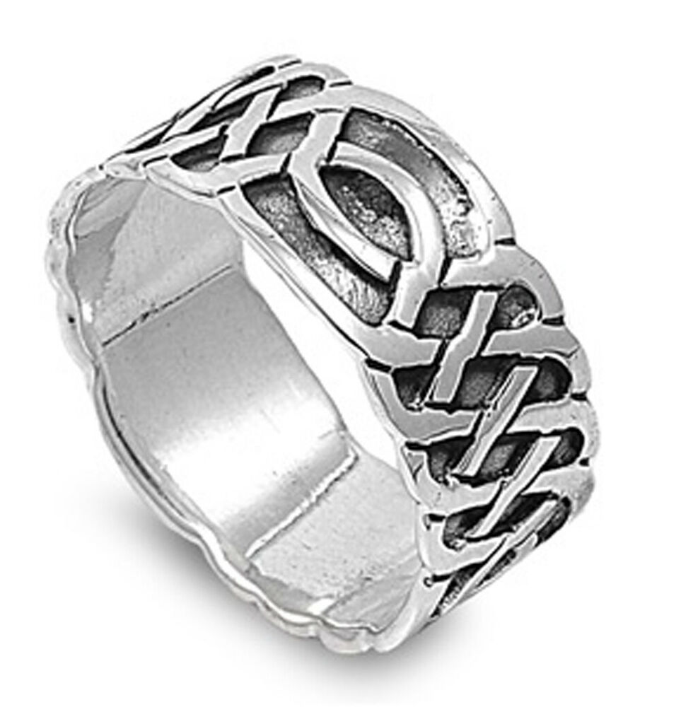 Sterling Silver Men's Celtic Knot Ring Pure 925 Wedding ...