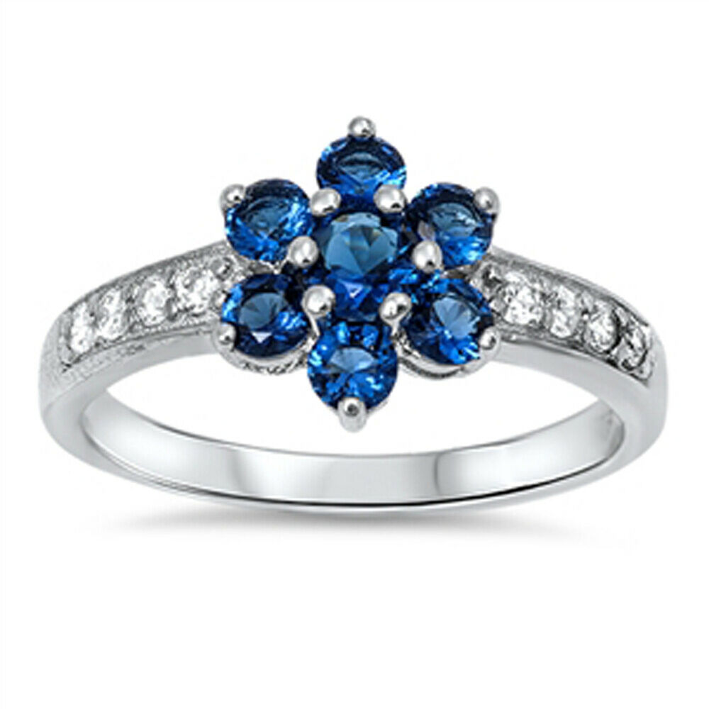 women 39 s blue sapphire cz flower ring new 925 sterling. Black Bedroom Furniture Sets. Home Design Ideas