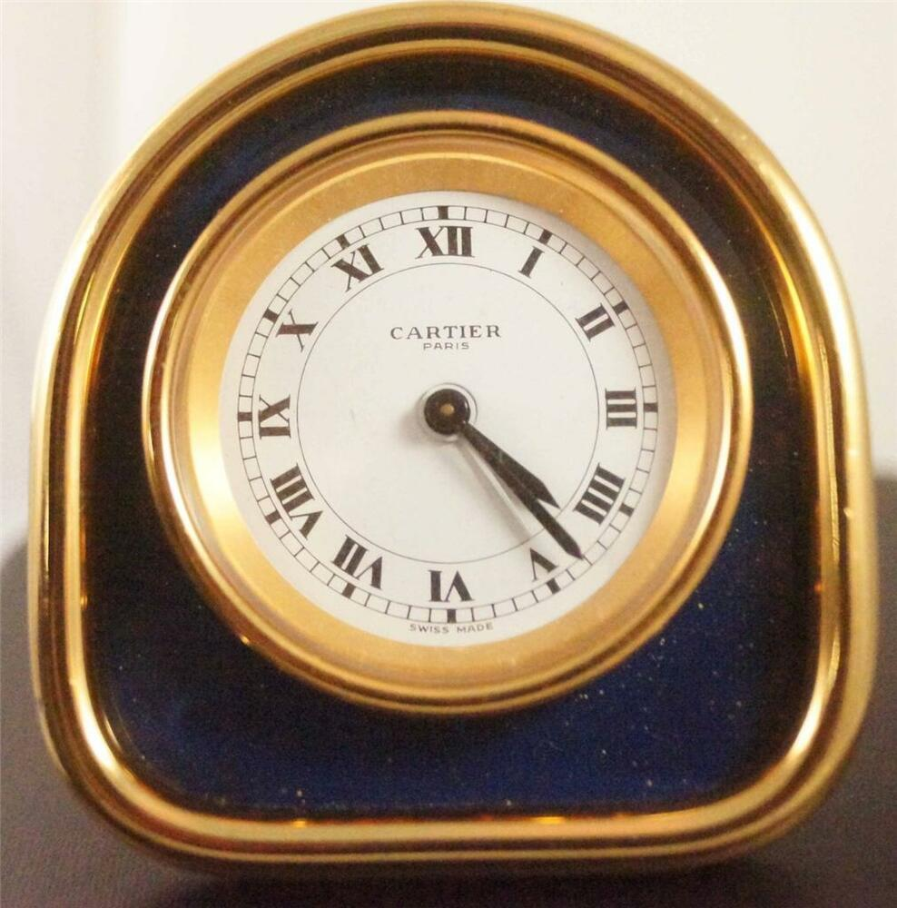 Cartier clock ebay cartier desk travel alarm clock with lapis looking highlights in gold amipublicfo Images