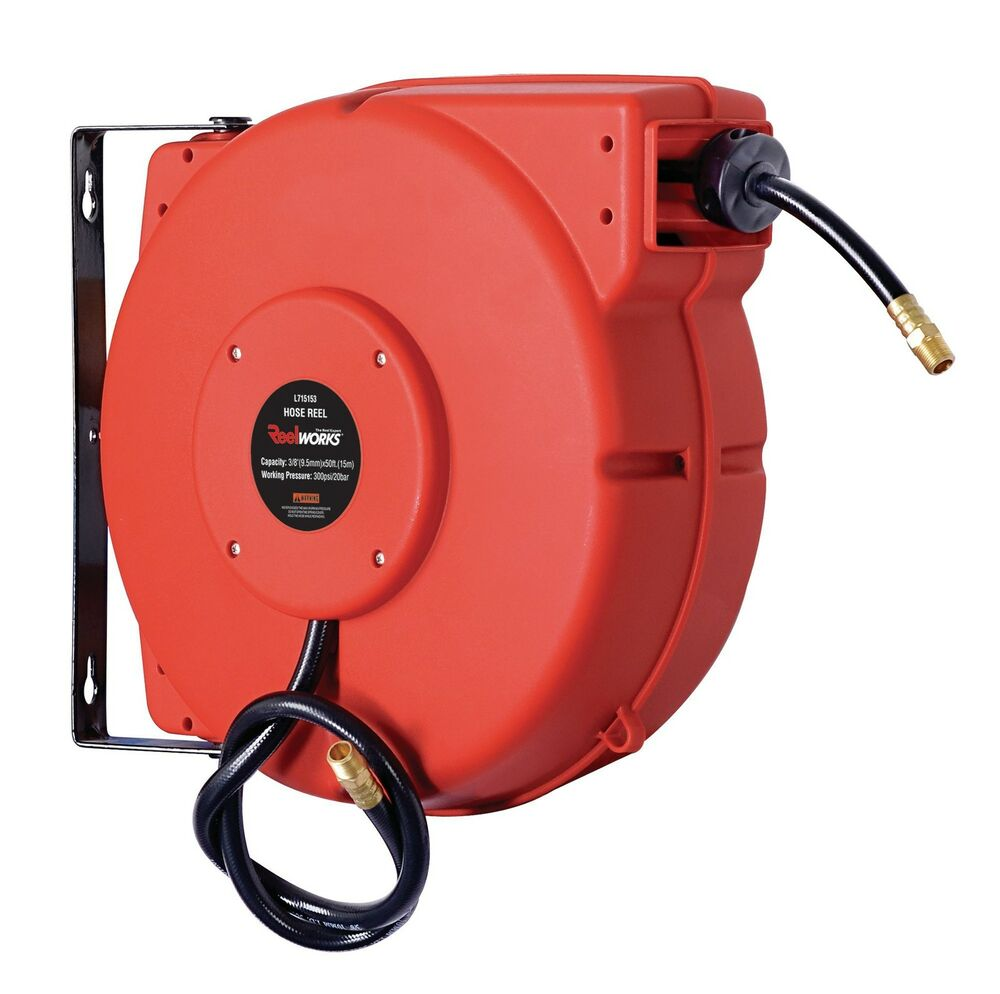retractable air hose reel reelworks plastic retractable air hose reel 3 8 quot x 50 29036