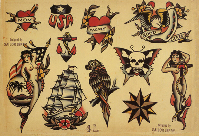 Sailor jerry tattoo art flash 4 13 x 19 photo print ebay for Sailer jerry tattoo