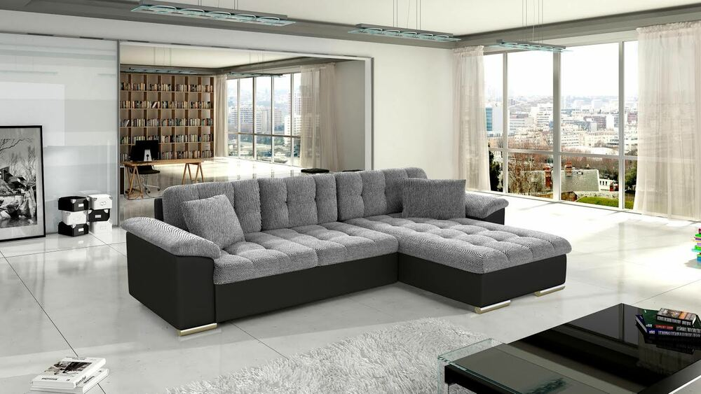 New Diana Leather & Fabric Corner Sofa With Bed + Storage In Black Grey  White