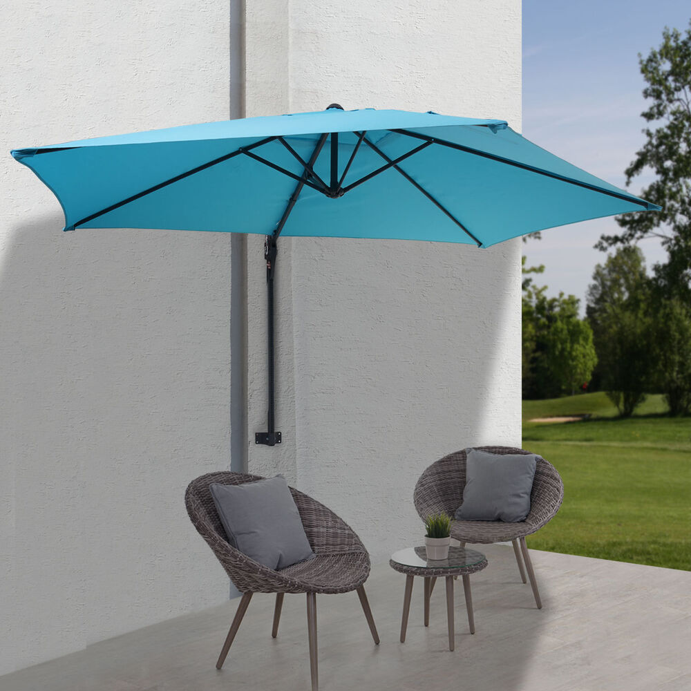 parasol mural casoria parasol d port pour le balcon 3m inclinable turquoise ebay. Black Bedroom Furniture Sets. Home Design Ideas