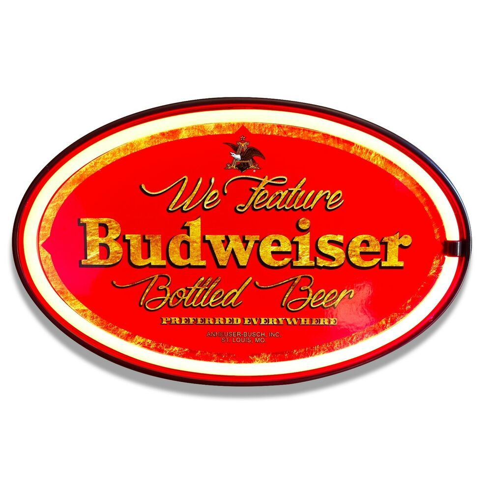 """Budweiser Beer LED Neon Lighted Sign, 16\"""" Oval, Home, Bar"""