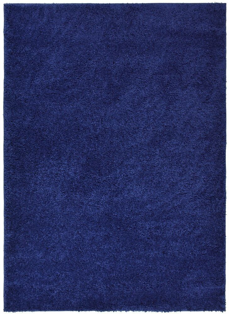 Soho Solid Color Shag Area Rug Navy Blue Antracite Black