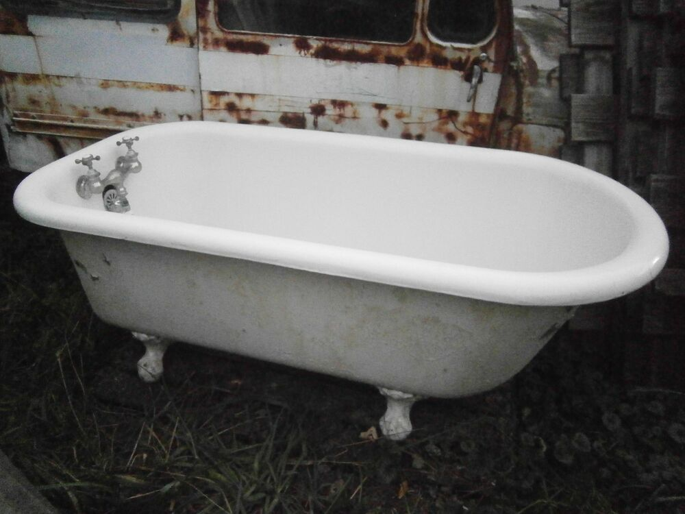 antique vintage claw foot tub 5 ft super clean ebay. Black Bedroom Furniture Sets. Home Design Ideas