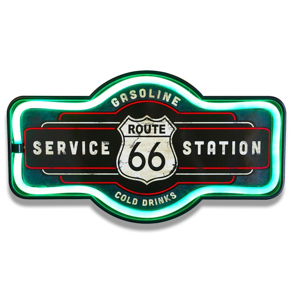 Route 66 Led Neon Lighted Sign 17 Quot Marquee Shape For Bar Garage Or Man Cave Ebay