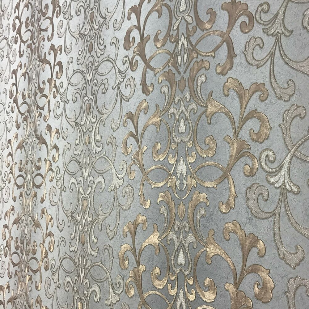 Wallpaper Textured Non Woven Wallcovering Modern Damask