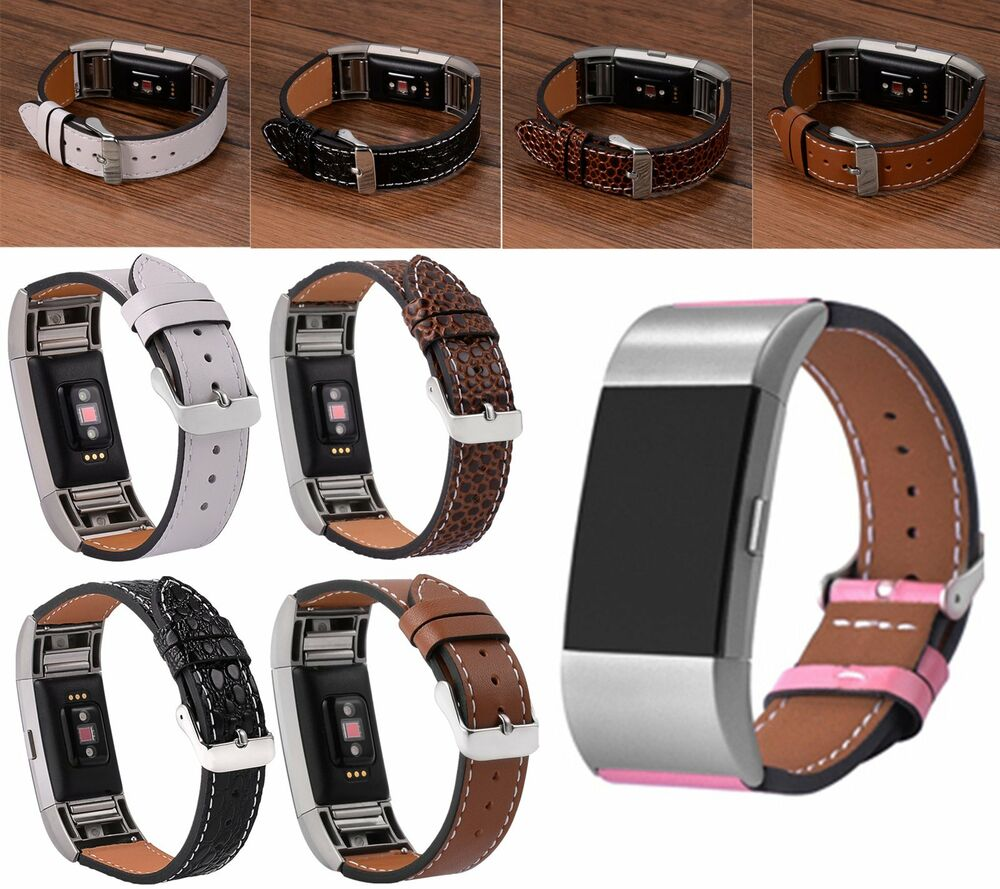 genuine leather wristband replacement band strap bracelet for fitbit charge 2 ebay