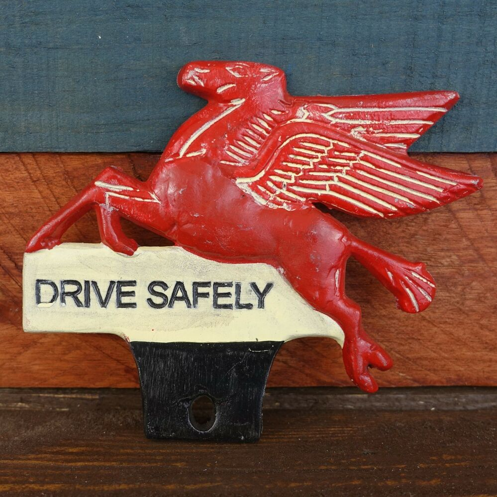 Mobil Pegasus Flying Horse License Plate Fob Topper